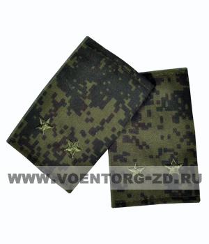 Фальшпогоны кмф цифра вышитые лейтенант (звезды зеленые)