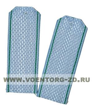 Погоны ФПС пограничные серо-голубые с зелеными кантами съемные на пластике