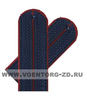 Погоны ФСИН синие 1 краповый просвет со шлевкой