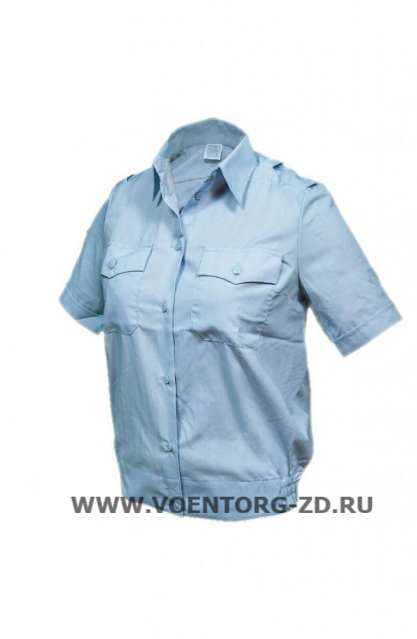 Рубашка женская голубая с коротким рукавом для офицерского состава р.37/2,3,4,5,6