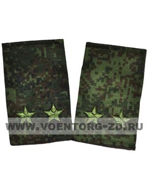Фальшпогоны кмф цифра вышитые подполковник (звезды зеленые)