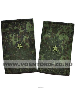 Фальшпогоны кмф цифра вышитые младший лейтенант (зв. зеленые)