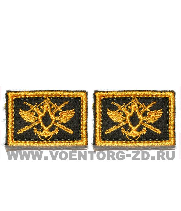 Вышитая эмблема ВОСО на кмф костюм желтая на липучке