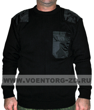 Свитер Черный (круглый ворот) М-1 с погонами,локтев.накладками и нагруд. карманом р.44-62
