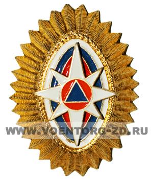 Кокарда МЧС овал золото (новая) бело-сине-красные овалы