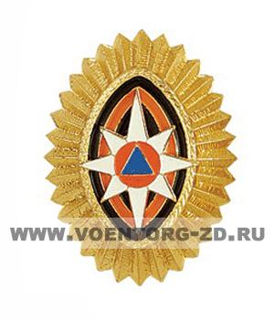 Кокарда МЧС овал золото офиц.сост.на шапки и пилотки зол. черно-оранжевые овалы