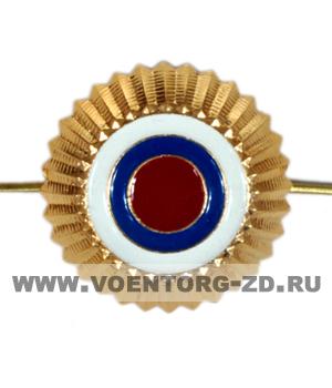 Кокарда Общегражданская (Минюста) круглая 30 мм (золото бело-сине-красные круги)