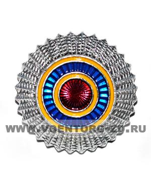 Кокарда общегражданская (серебряная, желто-синие круги)