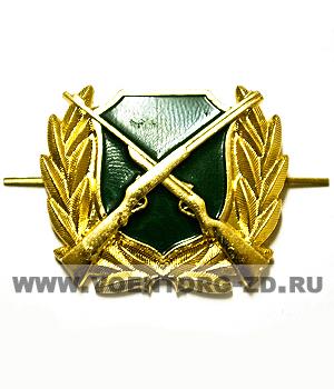 Кокарда Охотнадзор (зеленый щит, ружья)