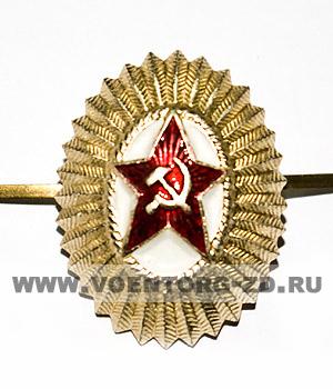 Кокарда Советская офицерская малая овал со звездой (серп и молот)