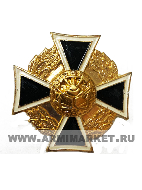 """0180 значок алюм """"Инженерные войска"""" крест черный, средний h 35мм"""