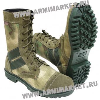 Ботинки М300/1 Уставные(аналог), велюр, комбинир. тканью МОХ, высокие берцы р.40-45