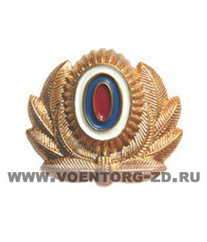 Кокарда МВД с эмблемой большая золотая пластик