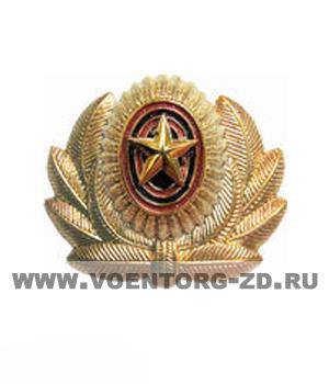 Кокарда МО с эмблемой большая офицерская золотая пластик