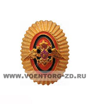 Кокарда ПВ (с орлом) офицерская золотая/защитная пластик