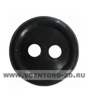Пуговица 2-х проколная d11 мм чёрная аминопласт.