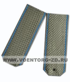 Погоны оливковые из ленты на рубашку голубой кант съёмн
