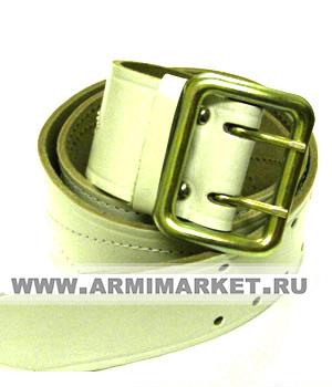 Ремень белый офицерский из кож.зам.с пряжкой на 2-х штырьках  разм.0-5