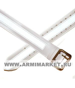 Ремень ДПС кожаный (белый со светоотражающей полосой) разм.1-5